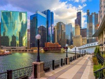 Rascacielos Y Río En Chicago - Rascacielos, río, paseo marítimo de Chicago