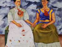 Las dos Fridas - Frida Khalo, art, painting, figures, mexico