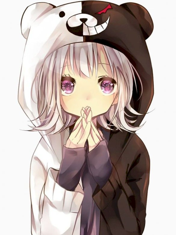 Anime Girl With Bear White Black Hood Play Jigsaw Puzzle For Free At Puzzle Factory