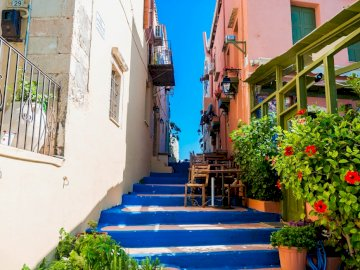Greek street - Crete - street with blue stairs