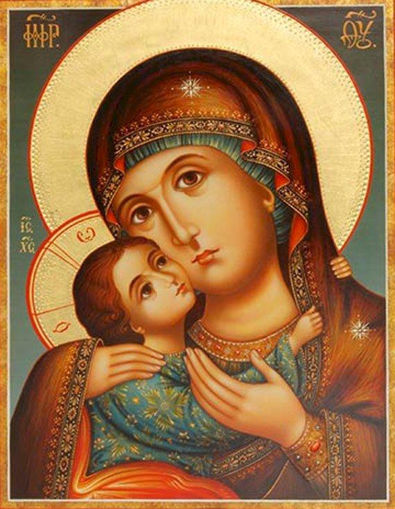 Vierge Marie avec l'enfant Jésus - Une icône orthodoxe de la Vierge Marie avec l'enfant Jésus (6×6)