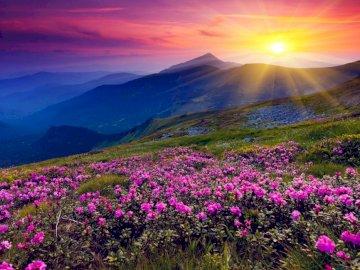SCHÖNE BERGLANDSCHAFT - Eine wunderschöne Berglandschaft. Im Allgemeinen zeigt den Sonnenuntergang. EMPFEHLEN! Vergiss nich