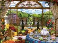 Délutáni tea a verandán