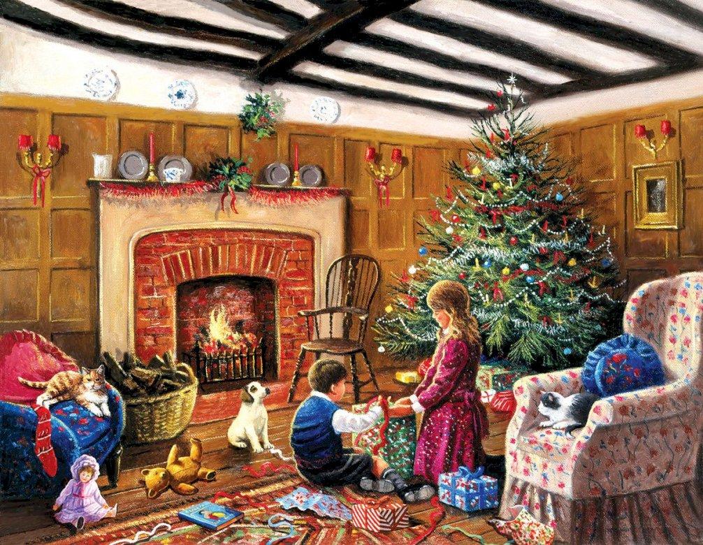Otevření dárků - příjemný vánoční večer s dárky (11×9)