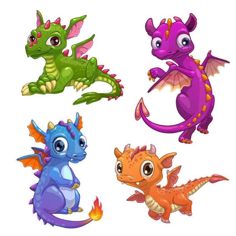 four little dragons - four little colorful dragons (4×3)