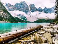 Lake in Canada, Moraine - Amazing lake in Kanda. Moraine - a glacial lake in Banff National Park in Alberta, Canada. It lies a
