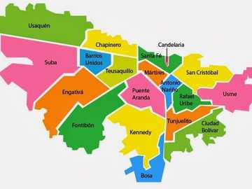 bogota city map - bogota separated by localities