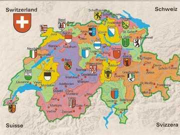 Map of Switzerland. - Puzzle: map of Switzerland.