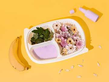 Flower Meal - sliced vegetables on white ceramic bowl. São Paulo, Brazil