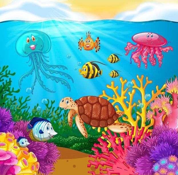 I botten av havet - Seascape med fisk (10×10)