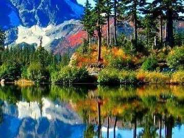 At the mountain lake. - Puzzle: on a mountain lake.