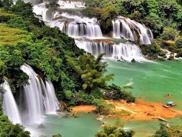 Waterfall And River, Tropical Forest - Waterfall And River On The Border Of Vietnam And China