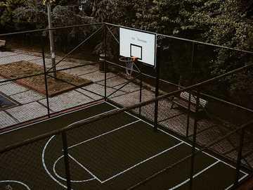 Basketball street - white basketball hoop on basketball court.