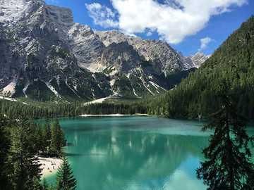 Mountain lake. - Puzzle: mountain lake.
