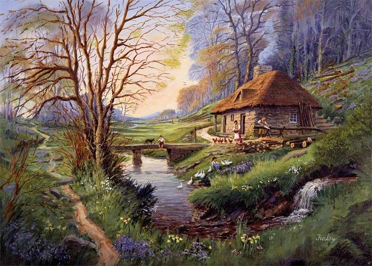 Рисуван пейзаж - Пъзел: рисуван пейзаж (9×7)