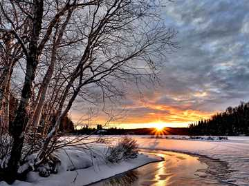 Winter landscape - winter scenery - sunset