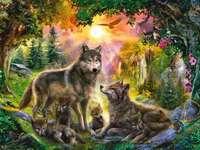 Krajobraz z wilkami - Piękny, leśny krajobraz z wilkami, życzę miłego układania, Wasza Zuzusia LPS