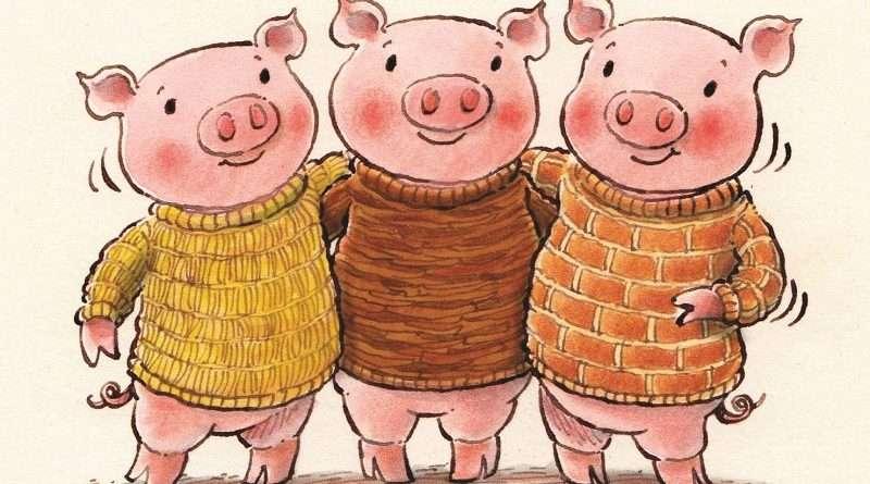 Trois petits cochons - Trois petits cochons dans un pull (8×4)