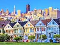 Colorful Houses And Skyscrapers, San Francisco
