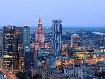 Warsaw - The city center in the evening