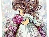В градината на красиви цветя