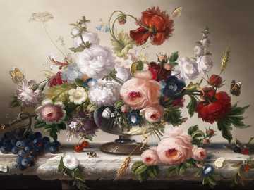Vaso con fiori - Fiori e frutti, arte, pittura