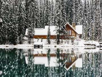 Wooden house - Wooden house on the lake