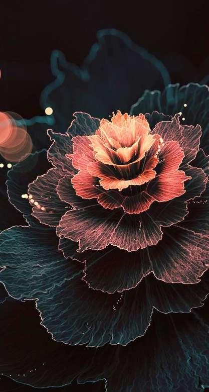 Цвете :) - Светещо цвете на черен фон (8×15)