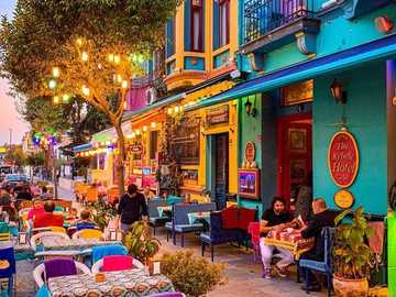 Colorful street - A charming street tempting with a full range of colors
