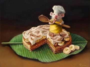 Małe myszy - Mysz, kucharz, jedzenie, zabawny, banan, ciasto.