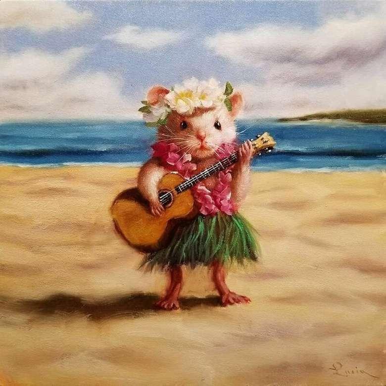 Малки мишки - Мишка, забавна, свиреща на китара, цветя, плаж, море (9×9)
