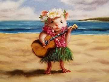 Little mice - Mouse, funny, playing guitar, flowers, beach, sea.