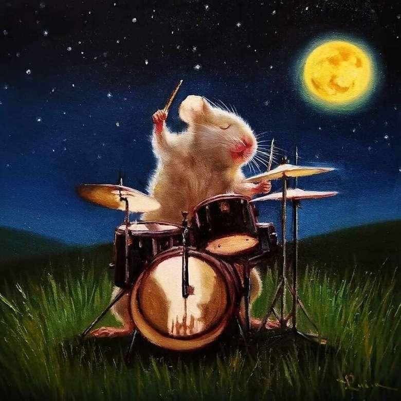 Малки мишки - Мишка, барабанист, нощ, смешно, забавно (9×9)