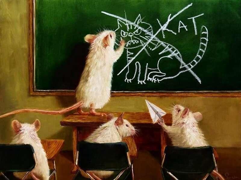 Малки мишки - Малки мишки, училище, учете, котка (9×7)