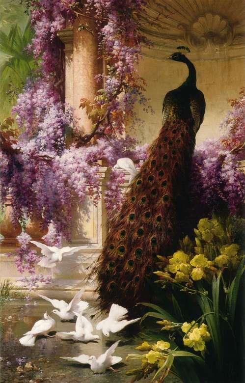 Цветя и птици - Цветя и птици, пауни, гълъби, красиви цветове, изкуство (9×14)