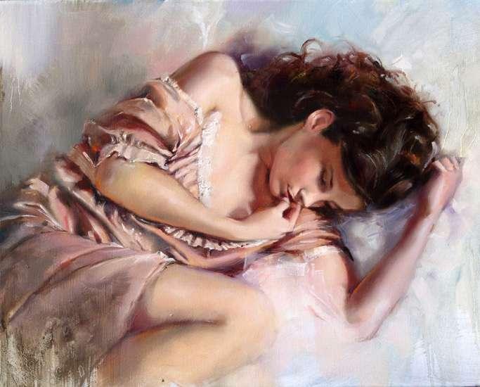 сладки сънища - Жена, сън, сън, изкуство, млад (15×12)