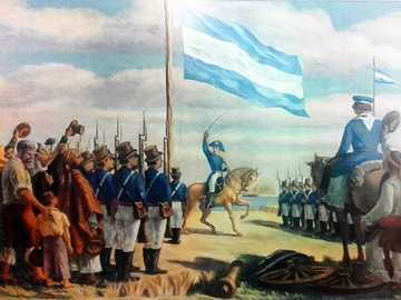 "MANUEL BELGRANO CREATES THE ARGENTINE FLAG - ""THE CREATION OF THE FLAG"", A PAINTING BY ANTONIO BERNI"