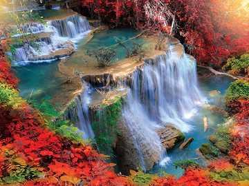 Kolorowy wodospad. - Układanka: kolorowy wodospad.