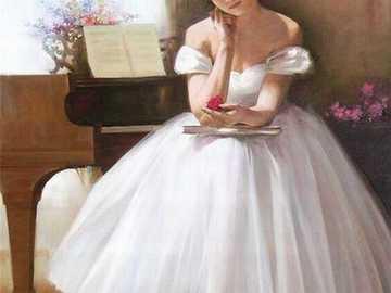 Ballet dancer - Dancer, ballet, dress, piano, flowers