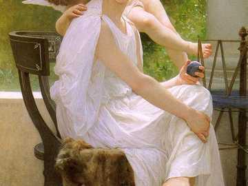 Anioł Miłości - Młoda kobieta, anioł, skrzydła, ogród.