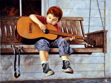 The boy with the guitar - Boy, child, guitar, house.