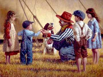 The wandering circus - Children, clown, dog, circus, tent.
