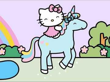hallo poes - hello kitty una gatita muy hermosa en un unicornio