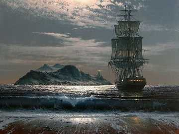 frigate - Frigate, lighthouse, ship, sea, night, moonlight, painting