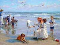 holiday at the sea - Vacation, sea, children, women, dog, paint