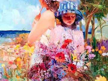 Sea of ​​flowers - Woman, girl, flowers, parasol, expressive colors