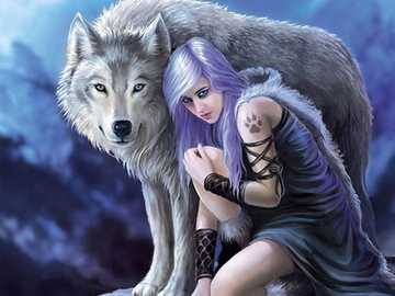 The protective wolf - Wolf protecting the child