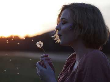 wishing on the sunrise - woman blowing dandelion flower selective focus photography.