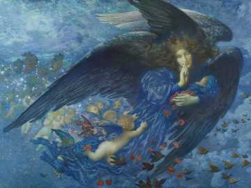 angel in blue dress painting - Night with her Train of Stars, 1912 The painting's title is derived from W. E Henley's (18