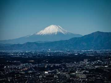 Yokohama , Japan - bird's eye view of Mount Fuji.